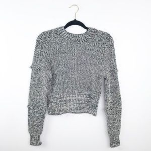 Urban outfitters gray marled knit frayed sweater